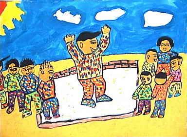 家乡山水简笔画 家乡山水图片欣赏 家乡山水儿童画画作品