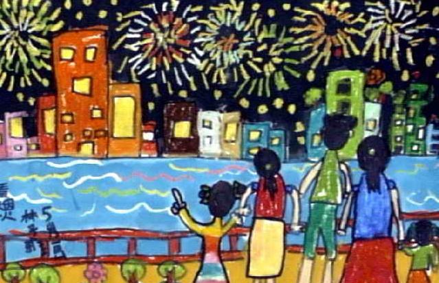 看烟火简笔画 看烟火图片欣赏 看烟火儿童画画高清图片