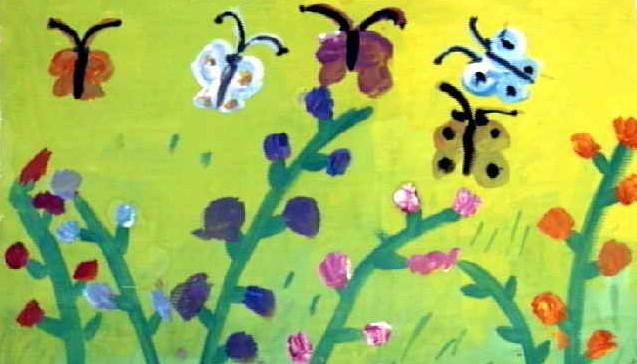 水粉画-蝴蝶找花