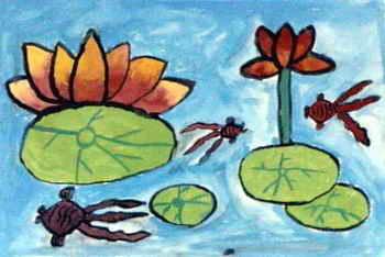池塘简笔画_池塘图片欣赏_池塘儿童画画作品-有伴网