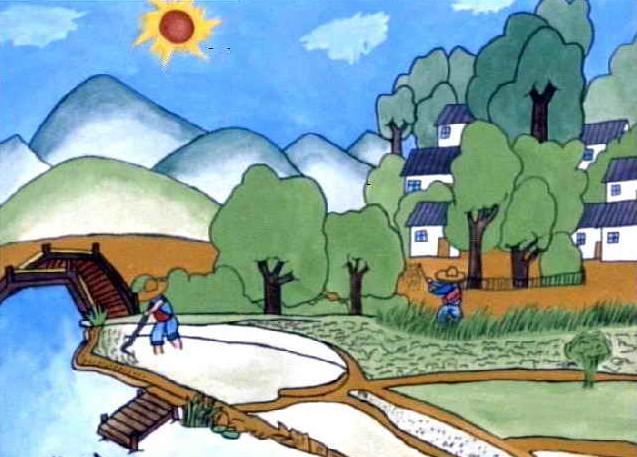 农民新村简笔画 农民新村图片欣赏 农民新村儿童画画作品 -水粉画 农