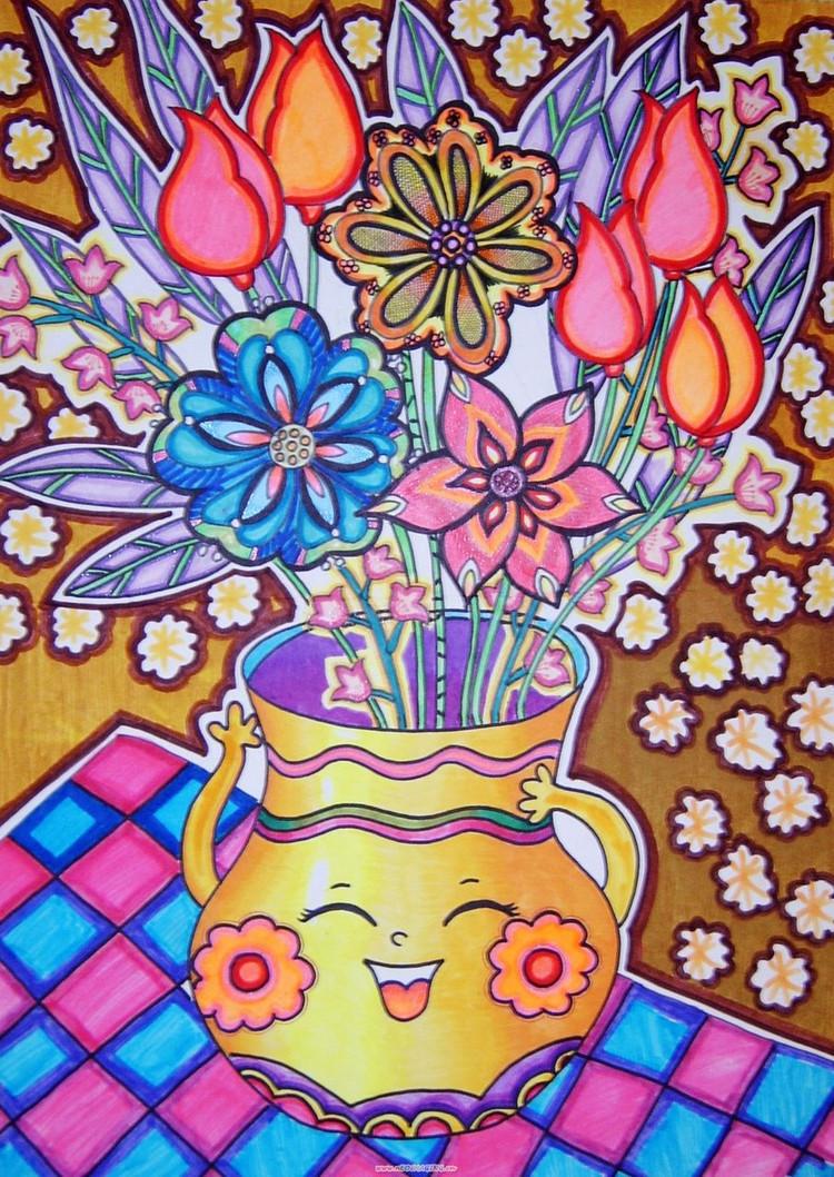 花 瓶粘贴画图片大全-青花瓷花瓶简笔画 幼儿简笔画 咏柳古诗配画简笔