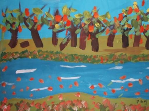 水粉画-河边的树