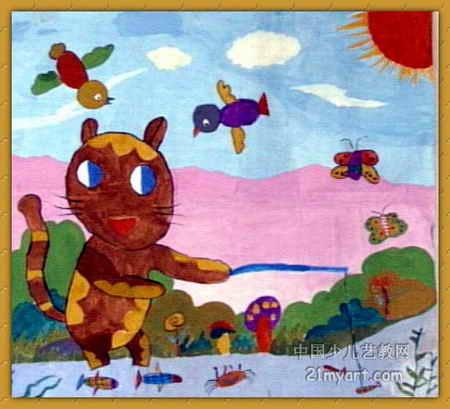 小猫钓鱼 简笔画 小猫钓鱼 图片欣赏 小猫钓鱼 儿童画画作品