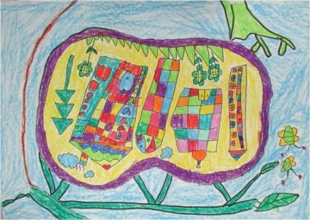 苹果家园简笔画 苹果家园图片欣赏 苹果家园儿童画画作品