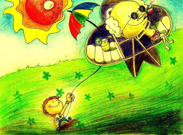 创意风筝简笔画 创意风筝图片欣赏 创意风筝儿童画画作品