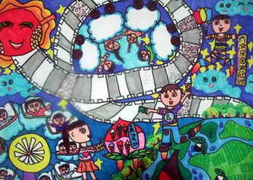 儿童画画 科幻画 太空乐园的笑声儿童画画