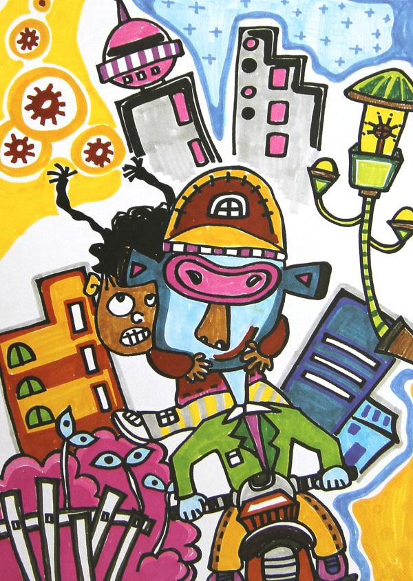 未来城简笔画_未来城图片欣赏_未来城儿童画画作品-有