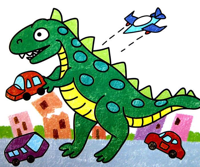 恐龙入侵地球简笔画 恐龙入侵地球图片欣赏 恐龙入侵地球儿童画画作品