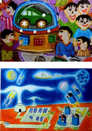 科幻世界简笔画 科幻世界图片欣赏 科幻世界儿童画画作品