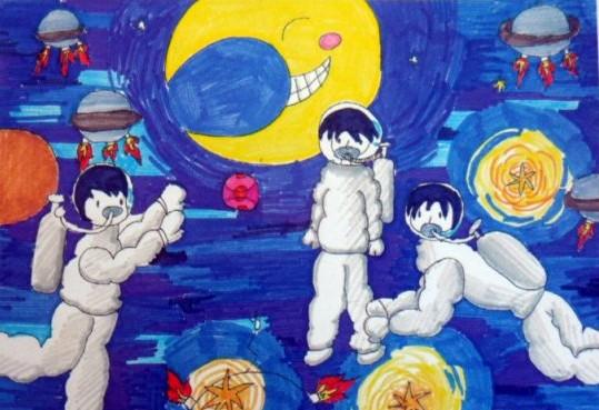太空旅行记简笔画 太空旅行记图片欣赏 太空旅行记儿童画画作品