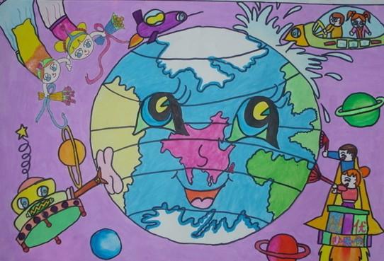 儿童画画作品科幻画:打扫地球