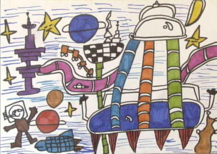 科幻空间 简笔画 科幻空间 图片欣赏 科幻空间 儿童画画作品