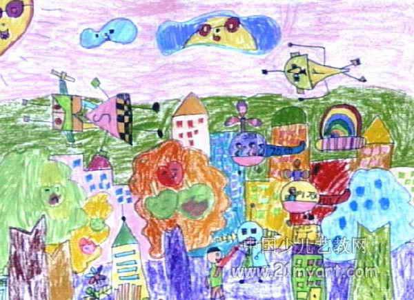 科幻的城市 简笔画 科幻的城市 图片欣赏 科幻的城市 儿童画画作品
