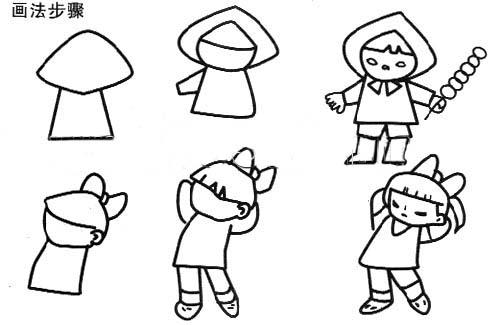 儿童画画 简笔画 吃冰糖葫芦的小女孩儿童画画