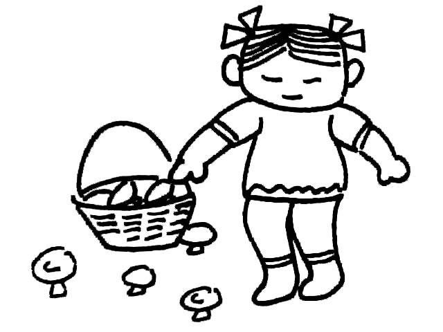 简笔画-采蘑菇的小女孩
