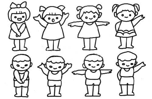 体操的小朋友们简笔画 做广播体操的小朋友们图片欣赏 做广播体操的