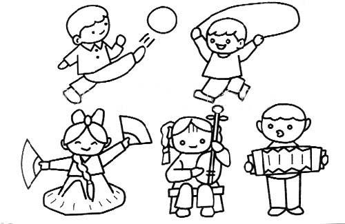 简笔画-五个小朋友
