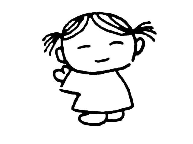 扎着小辫子的女孩简笔画_扎着小辫子的女孩图