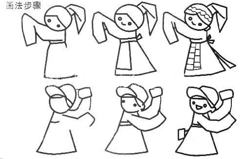 儿童手绘少数民族的简笔画画法图片图解