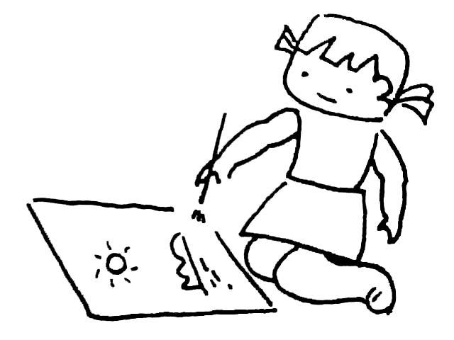 儿童画画 简笔画 绘画的小女孩儿童画画