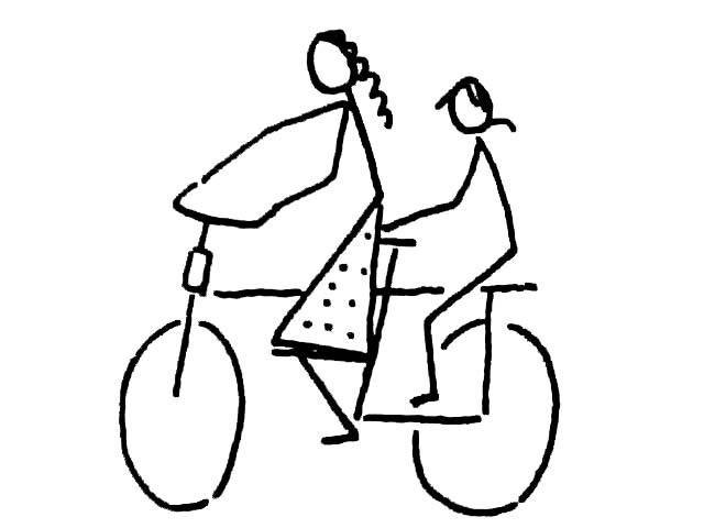 自行车上的母子简笔画