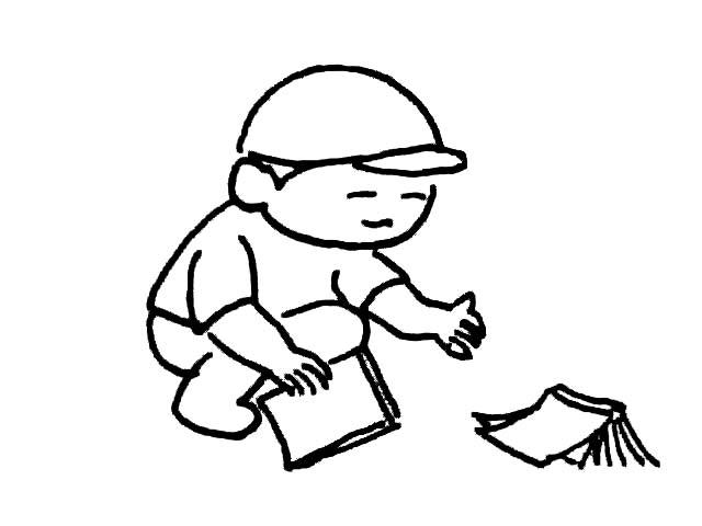 简笔画-拾书的小男孩