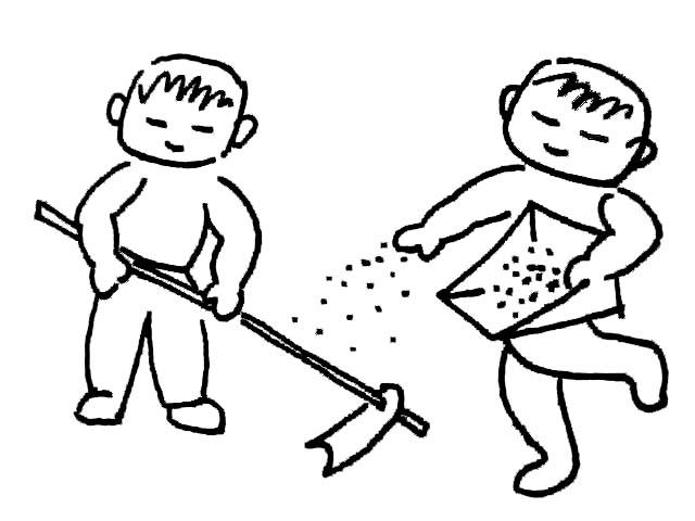 人物简笔画图案大全-我们一起来种地简笔画