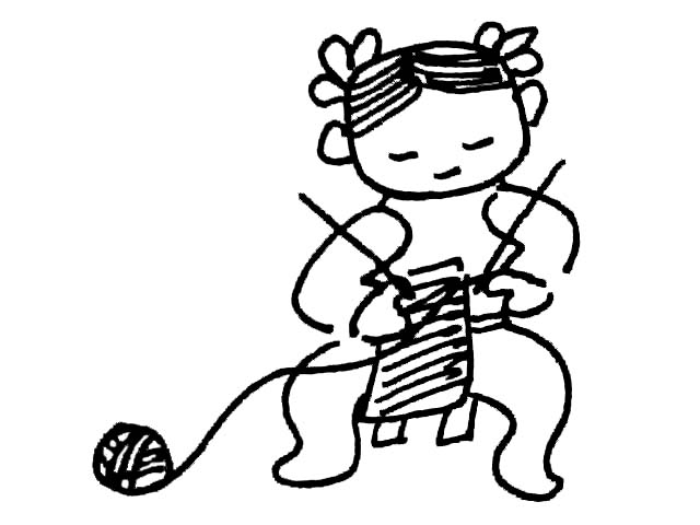 简笔画-小女孩织毛衣
