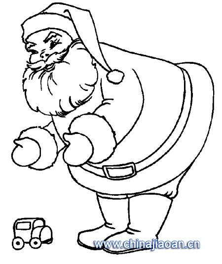圣诞老人简笔画 圣诞老人和小汽车儿童画画作品 -简笔画 圣诞老人简