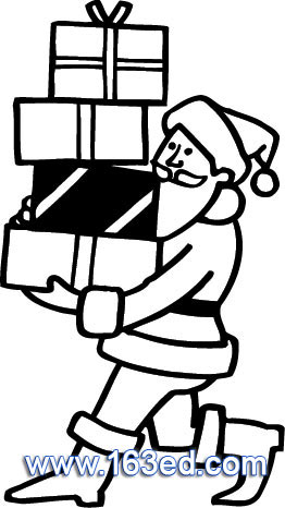 简笔画- 圣诞老人简笔画-圣诞老人搬礼物了