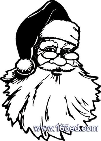 简笔画- 圣诞老人简笔画-戴眼镜的圣诞老人