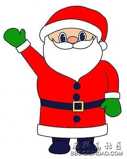 简笔画-圣诞节老人简笔画-开心的圣诞老爷爷