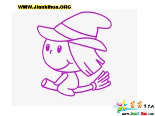 骑着扫帚的女巫简笔画