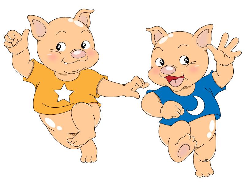 简笔画- 卡通动物简笔画图片-双胞胎猪兄弟