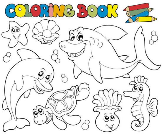 简笔画-海底动物全家福