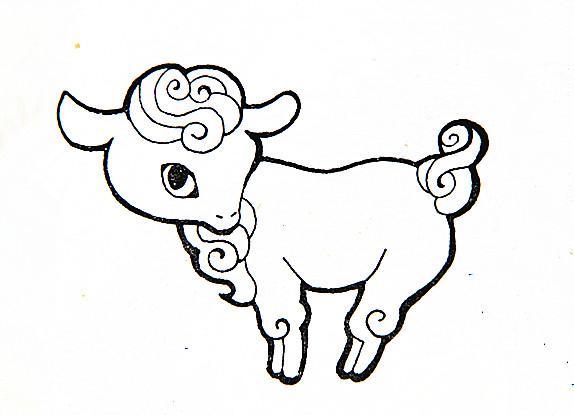 儿童画画作品简笔画:可爱的小羊