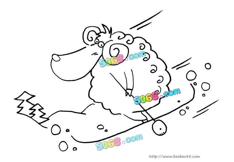 儿童画画 简笔画 小绵羊滑雪儿童画画
