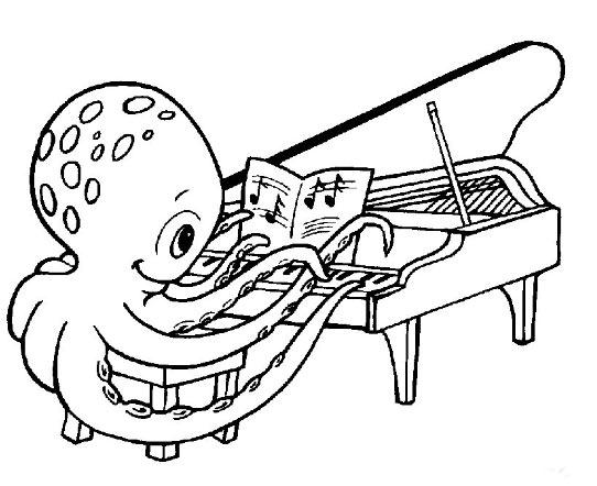 简笔画-章鱼哥弹钢琴