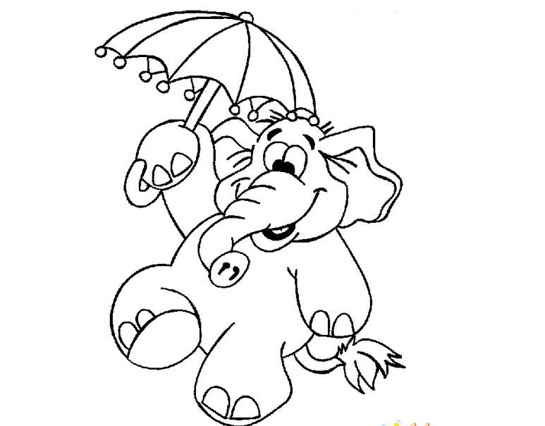 带小伞的大象简笔画_带小伞的大象图片欣赏