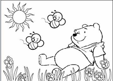 简笔画-晒太阳的维尼小熊