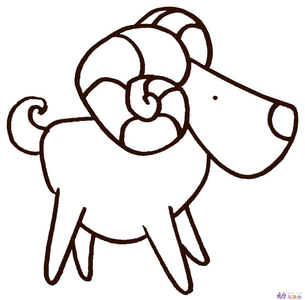 简笔画-卷角山羊
