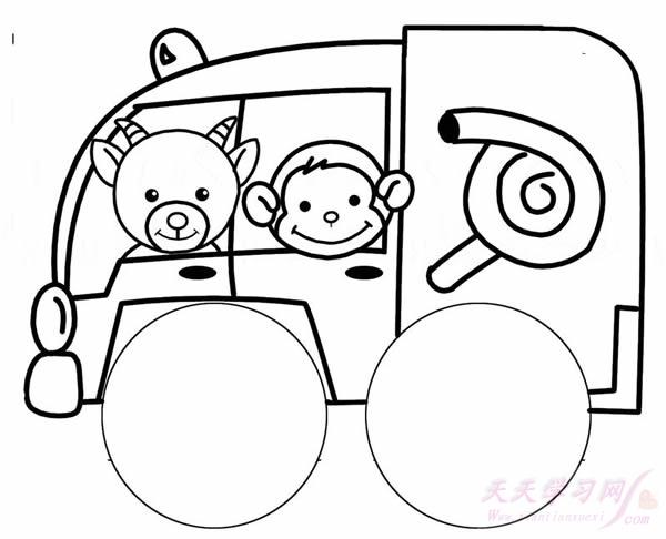 简笔画-小山羊和小猴子