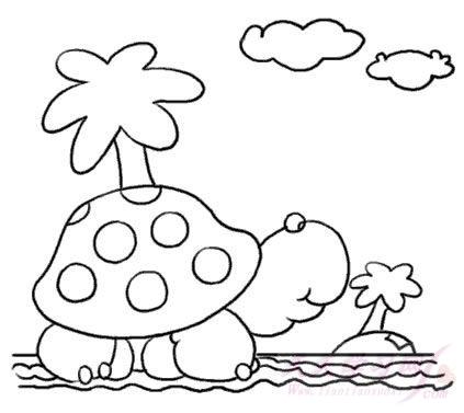 小乌龟晒太阳简笔画 小乌龟晒太阳图片欣赏 小乌龟晒太阳儿童画画作品