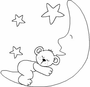 简笔画 小熊维尼简笔画图片 小熊在月亮上面