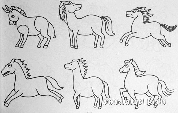 奔腾的骏马简笔画 奔腾的骏马图片欣赏 奔腾的骏马儿童画画作品