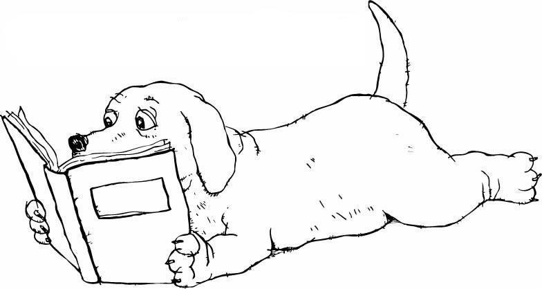 教你画小狗看书的简笔画教程儿童画画作品
