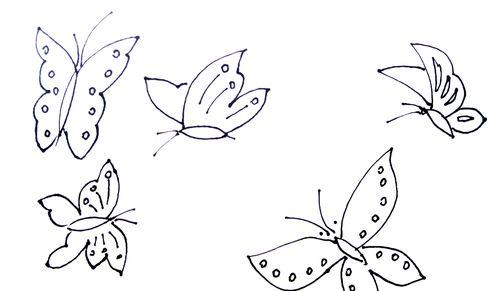 教你画五只小蝴蝶的简笔画教程简笔画 教你画五只小蝴蝶的简笔画教程
