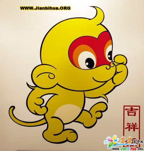 简笔画- 动物简笔画-可爱的小猴