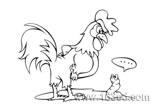 简笔画- 卡通动物的简笔画-小公鸡吃虫子